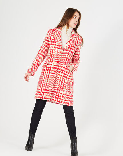 Jude red check coat in jacquard (1) - 1-2-3