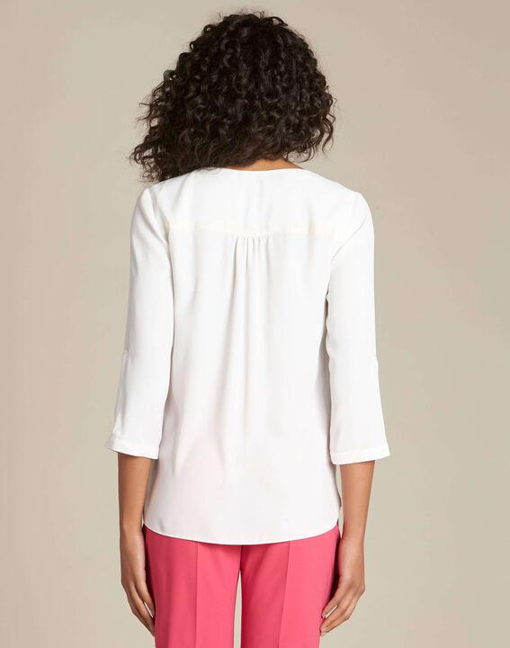 Ecrufarbene Bluse mit Reißverschluss-Ausschnitt Galia (4) - 1-2-3
