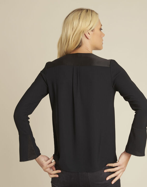 Carole black blouse with decorative neckline (4) - 1-2-3
