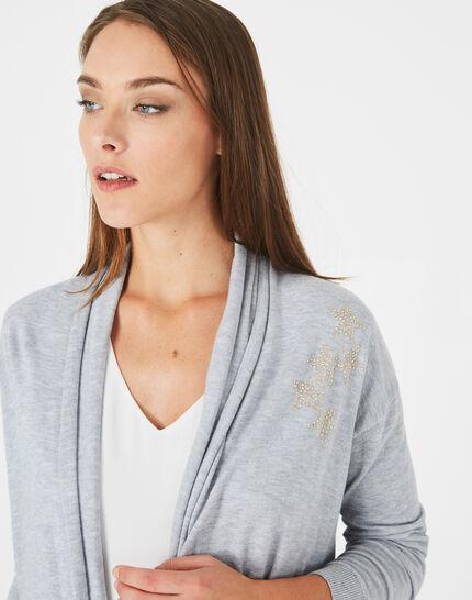 Gilet chiné clair à strass façon veste Pluton (2) - 1-2-3
