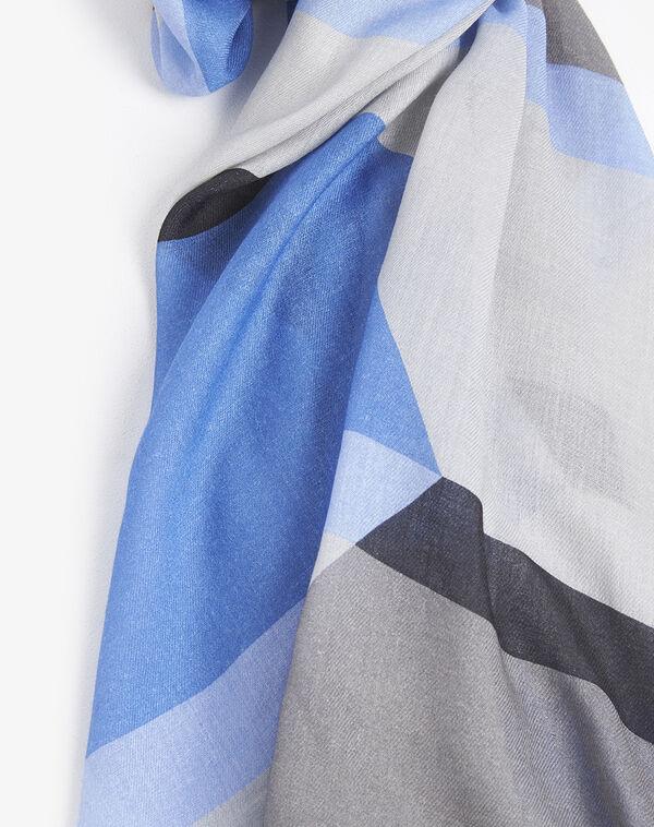 Foulard modal et laine bleu à rayures Figue (1) - 1-2-3
