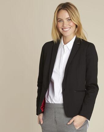 Black tailored viscose jacket black.