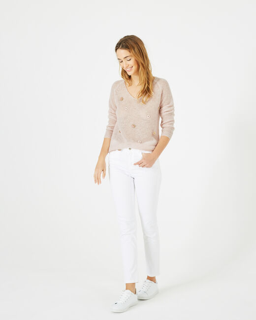 Pensée pale pink sweater with embroidered flowers (1) - 1-2-3
