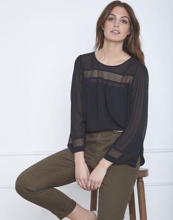 Zwarte blouse met opengewerkte biesjes Verena PhotoZ | 1-2-3