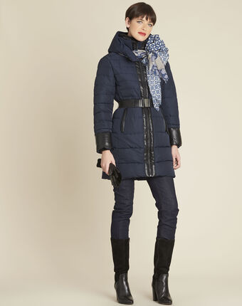 Phiby navy belted down jacket navy.