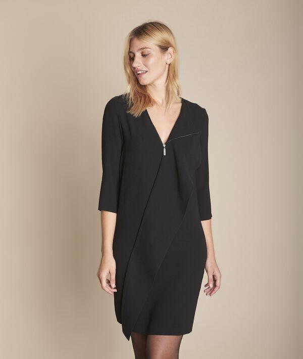 Verwonderlijk Zwarte jurk met rits en volant vooraan Irene Dames | Maison 123 VZ-63