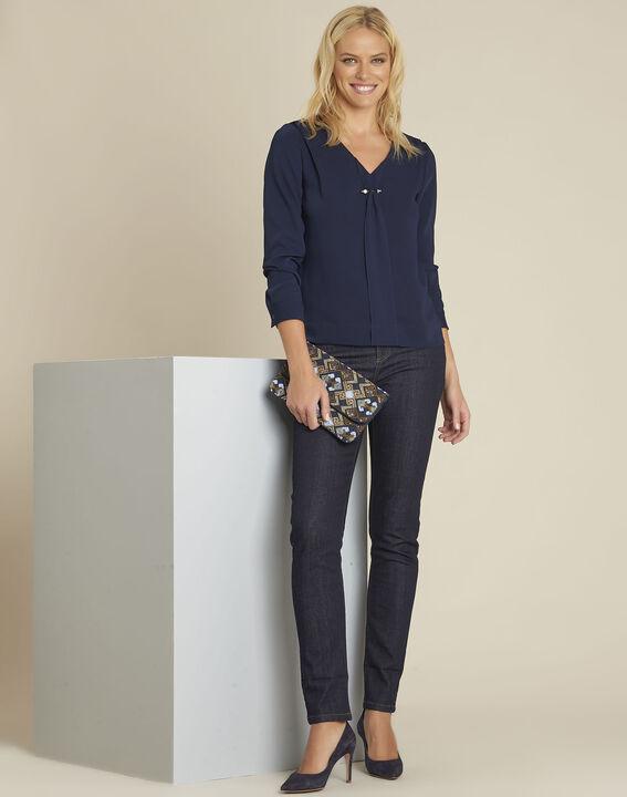 Donkerblauwe blouse met juweel aan de halslijn Capucine (2) - 37653