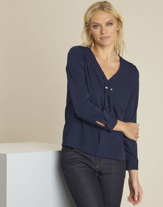 Capucine navy blouse with jewel detail neckline (1) - Maison 123