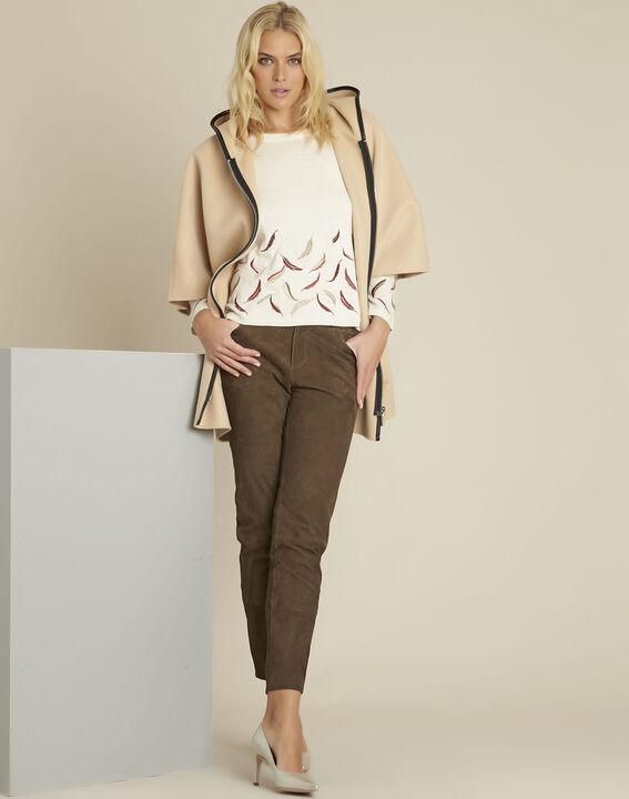 Ecrufarbener Pullover mit Stickerei aus Wollgemisch Birdie (2) - 1-2-3