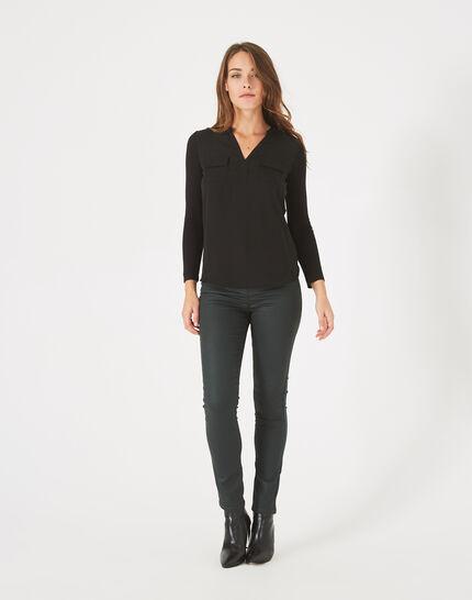 Schwarzes T-Shirt im Materialmix Leden PhotoZ | 1-2-3