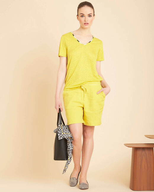 Elin yellow anise linen T-shirt with decorative neckline (1) - 1-2-3