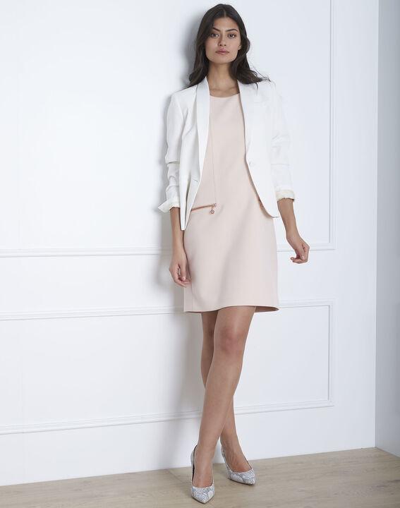 Gerade geschnittenes, puderfarbenes Kleid mit Reißverschlusstaschen Legende (2) - Maison 123