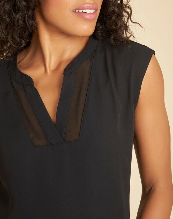 Bianca short-sleeved, black, dual-fabric T-shirt with a mesh collar  (4) - 1-2-3