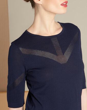 Marineblauer pullover mit zierstichen nymphe marineblau.