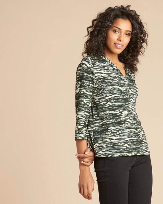 Khakifarbenes Print-T-Shirt mit Tunika-Kragen Esnake (2) - 1-2-3