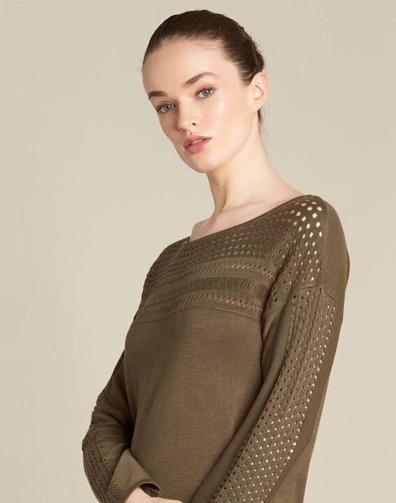 Khakifarbener Pullover mit Ajour-Details Nefle (1) - 1-2-3