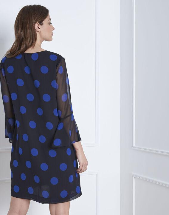 Marineblaues Kleid mit Pünktchenmuster Astrid (4) - Maison 123