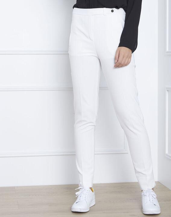 Pantalon blanc slim microfibre Lara (1) - Maison 123