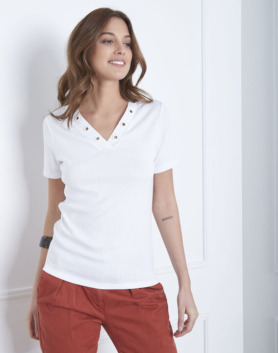 Tee-shirt blanc encolure oeillets Basic (1) - Maison 123