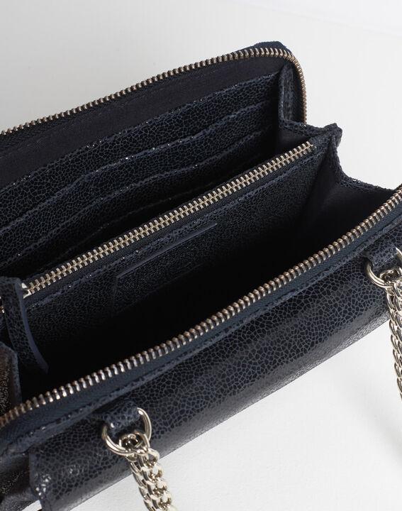 Marineblaue Umhängetasche mit Kette aus genarbtem Leder Darling (5) - 1-2-3