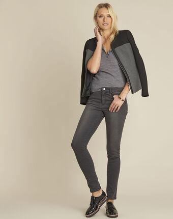 Veste noire compacte empiècement faux cuir silex noir.
