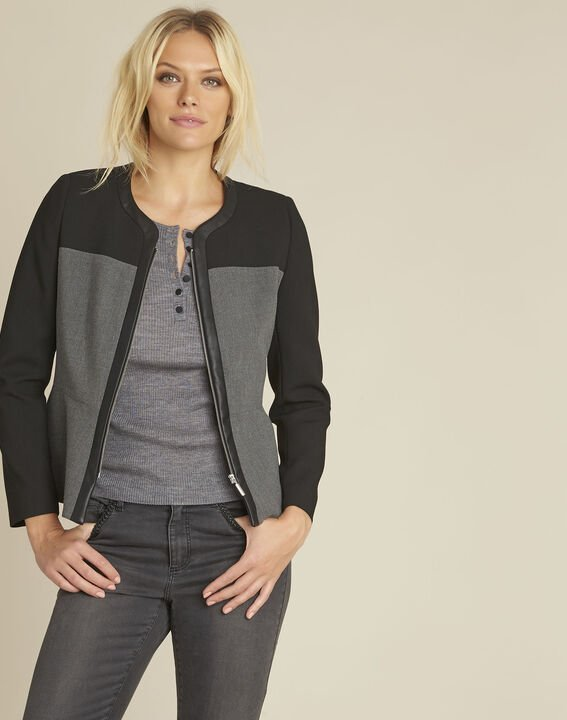 Silex compact black jacket with faux leather panel (1) - Maison 123