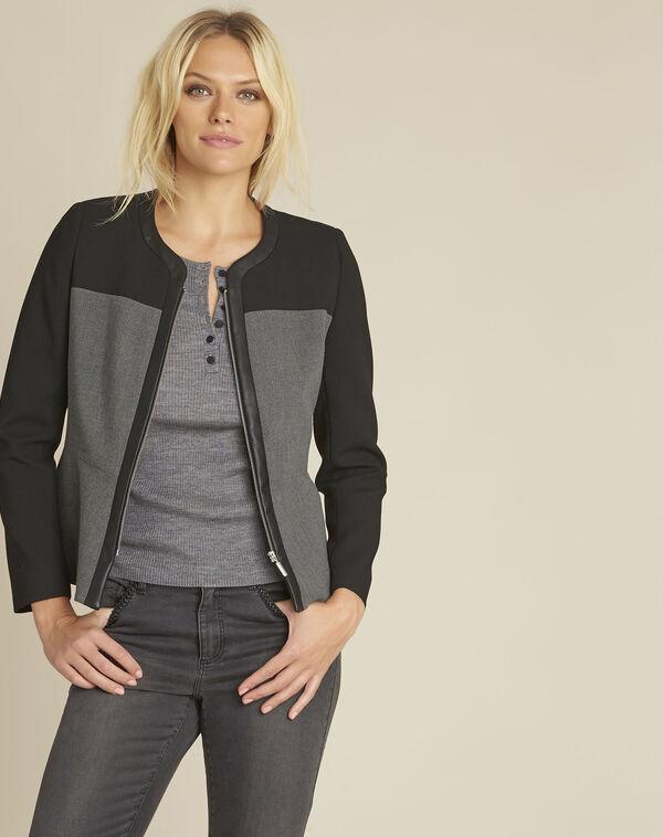 Feste schwarze Jacke mit Kunstleder-Einsätzen Silex (1) - 1-2-3