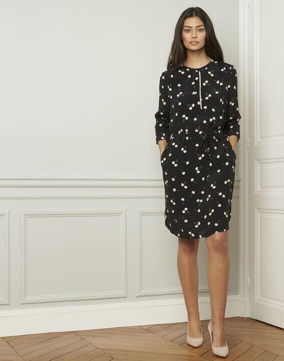 Schwarzes Kleid mit Kirschmuster, aus Viskose Linda (2) - Maison 123