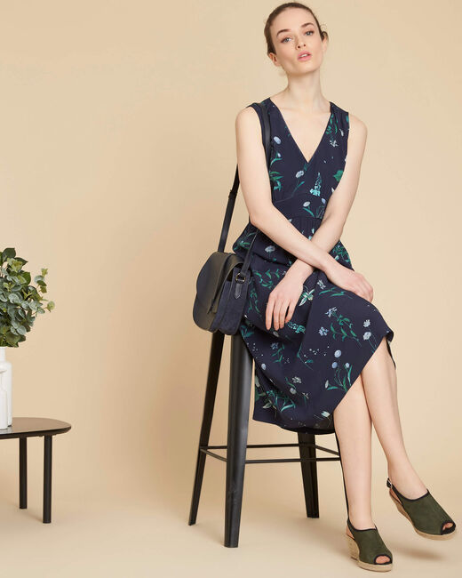 Pepita long navy blue printed dress (2) - 1-2-3