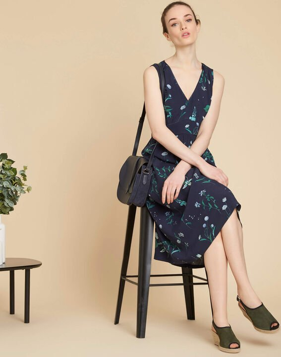 Pepita long navy blue printed dress (2) - 1-2-3