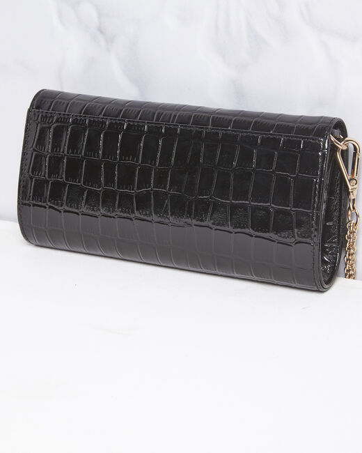 Isabelle crocodile effect black leather clutch bag (2) - 1-2-3