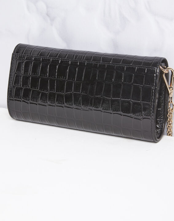 Isabelle crocodile effect black leather clutch bag (3) - Maison 123