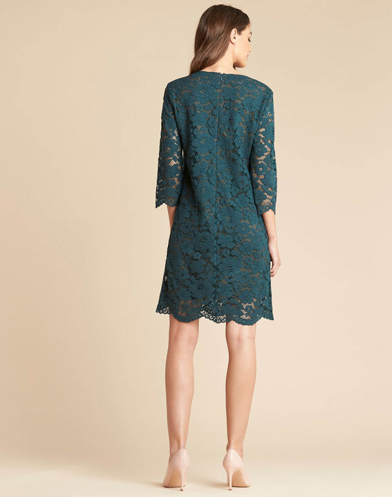 Poésie forest green dress with lateral bands in lace (4) - 1-2-3