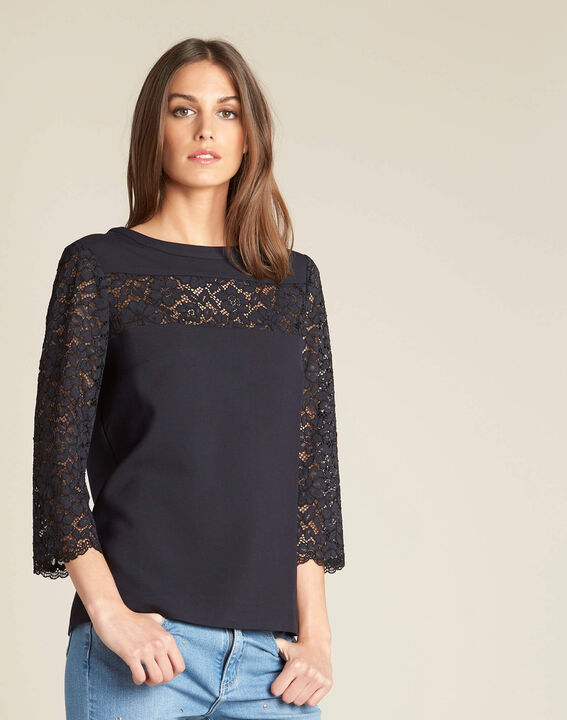 Golly navy blue lace blouse (3) - 1-2-3