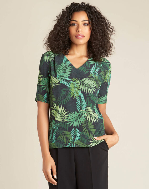 Miledine palm tree print dual-fabric blouse (3) - 1-2-3