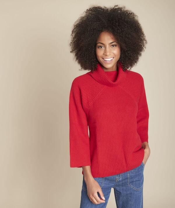 Pull col roulé laine rouge Fragile PhotoZ | 1-2-3