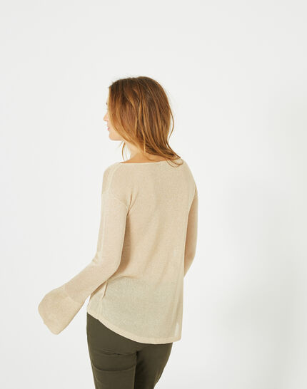 Goldener glänzender Pullover mit Trompetenärmeln Pagode (3) - 1-2-3