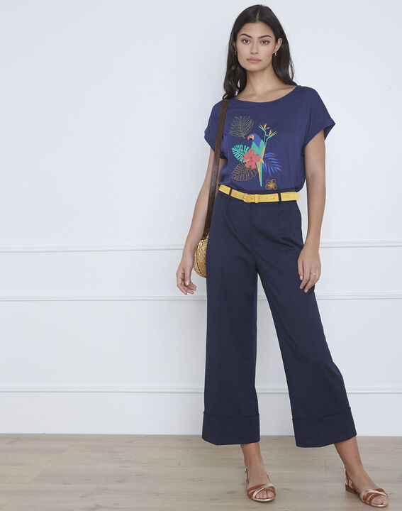 Tee-shirt bleu imprimé perroquet Petropolis (1) - Maison 123