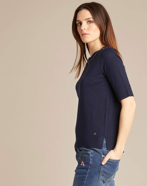 Nevada navy blue short-sleeved sweater in wool and silk (3) - 1-2-3