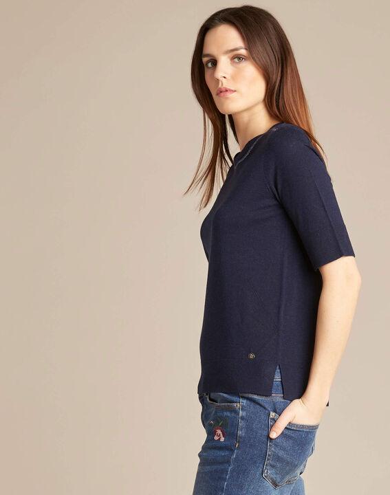 Marineblauwe trui met korte mouwen van wol en zijde Nevada (3) - 37653