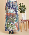 Lucius palm printed long navy blue skirt PhotoZ   1-2-3