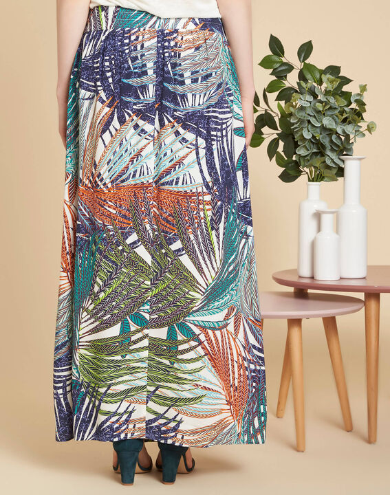 Lucius palm printed long navy blue skirt (4) - 1-2-3