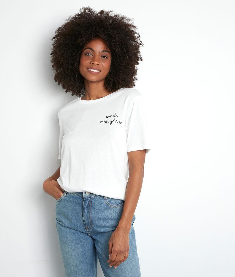 Tee-shirt en coton bio et modal brodé blanc Elixir PhotoZ | 1-2-3