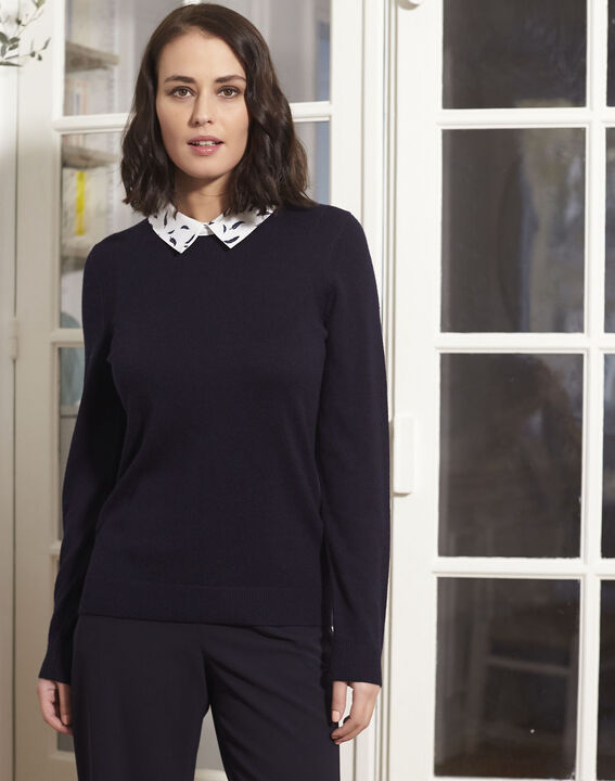 Boppy navy pullover with decorative shirt collar (1) - 1-2-3