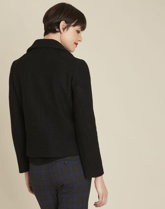 Manteau noir en laine esprit perfecto Edmee (4) - 1-2-3