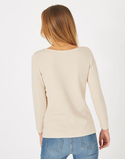 Pull beige à strass col rond Pluie (4) - 1-2-3