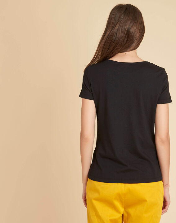Tee-shirt noir encolure fantaisie Ethnique (4) - 1-2-3