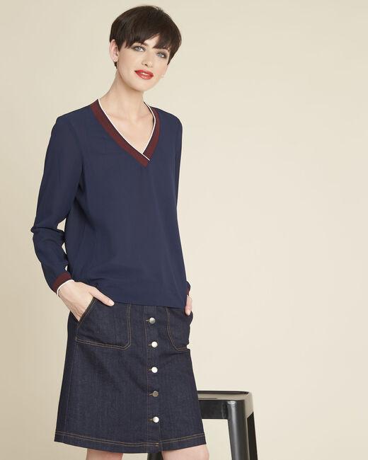 Marineblaue Bluse mit kontrastierendem Ausschnitt Carmen (2) - 1-2-3