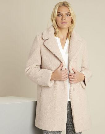 Manteau nude aspect laine bouillie elvire peche.