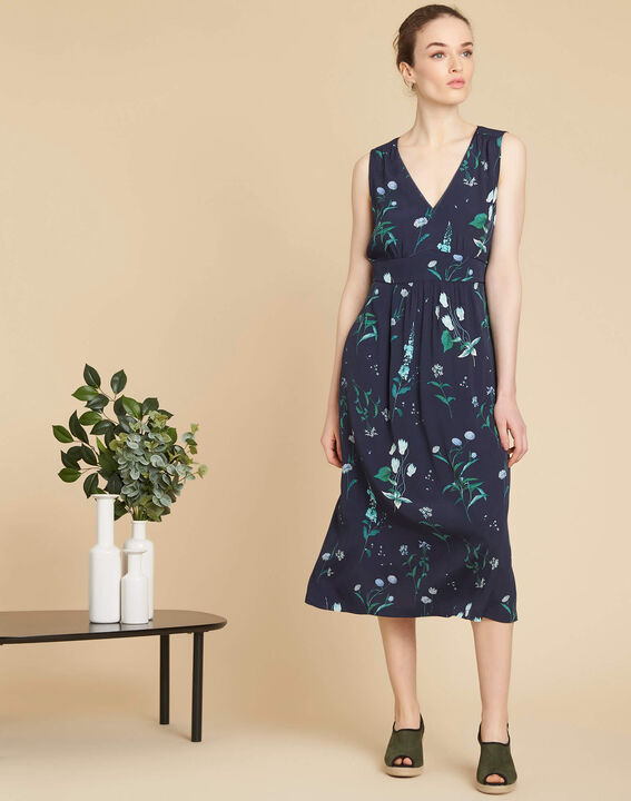 Langes marineblaues Print-Kleid Pepita (3) - 1-2-3